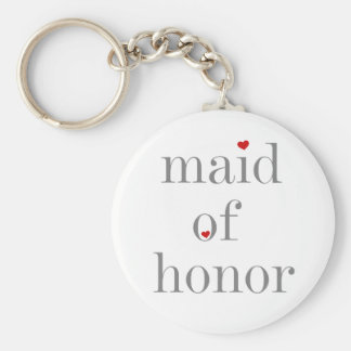 Grey Text Maid of Honour Basic Round Button Key Ring