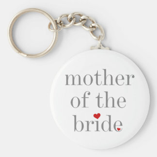 Grey Text Mother of Bride Basic Round Button Key Ring