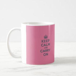 Grey Text on Pink - Keep Calm and Carry On Basic White Mug