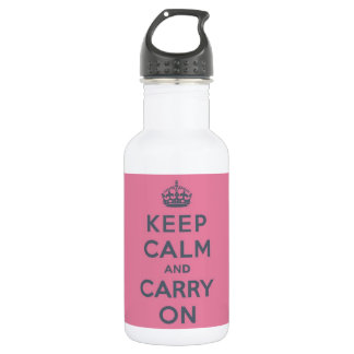 Grey Text on Pink - Keep Calm and Carry On 532 Ml Water Bottle