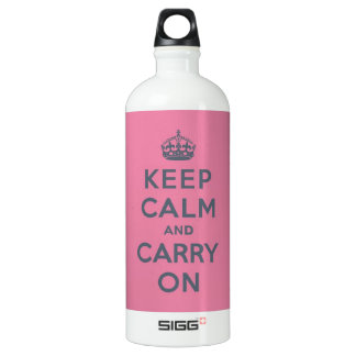 Grey Text on Pink - Keep Calm and Carry On SIGG Traveller 1.0L Water Bottle