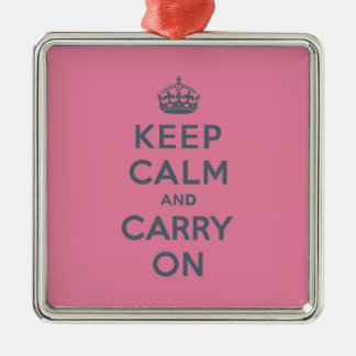 Grey Text on Pink - Keep Calm and Carry On Silver-Colored Square Decoration