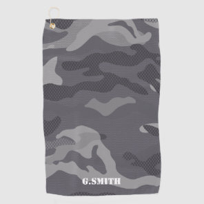 Grey Texture Camouflage Pattern Camo your Golf Towel