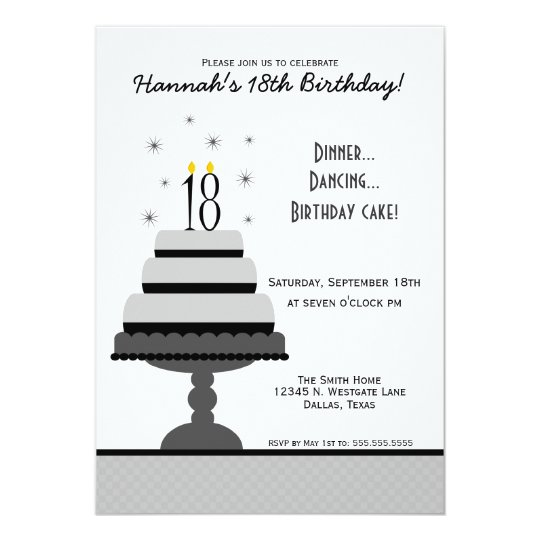 Grey Tiered Cake 18th Birthday Party Invitation