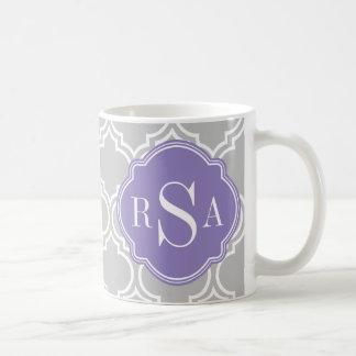 Grey Tile Lattice Pattern Lavender Monogram Basic White Mug