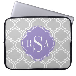 Grey Tile Lattice Pattern Lavender Monogram Laptop Sleeve