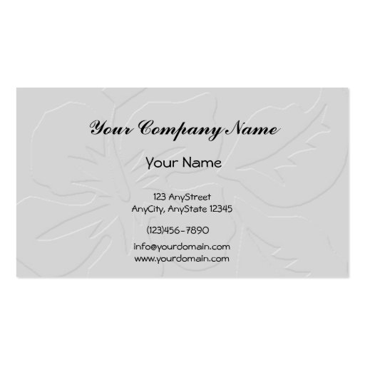 Grey Tone on Tone Hibiscus Business Card Template