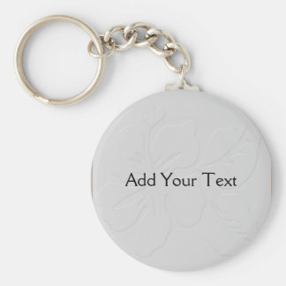 Grey Tone on Tone Hibiscus Key Ring