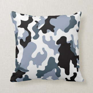 Grey Tones Military Camo Throw Pillow