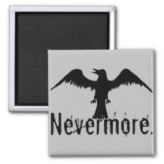 Grey Tribal Raven Nevermore Square Magnet