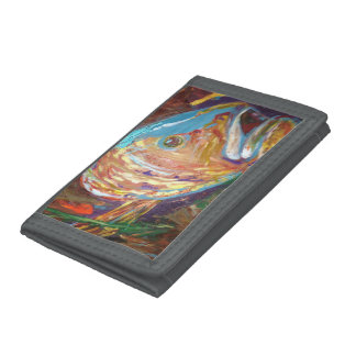Grey TriFold Nylon Wallet, Fish Abstract art Trifold Wallets