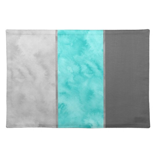 Grey Turquoise Block Stripes Placemat