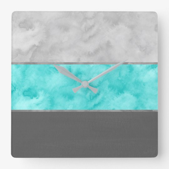 Grey Turquoise Block Stripes Square Wall Clock