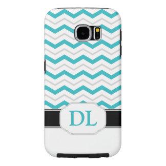 Grey & Turquoise Chevron Monogram Galaxy S6 Case