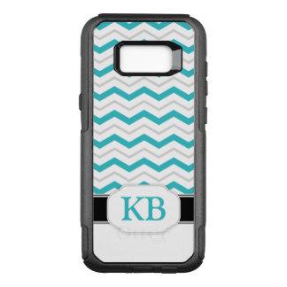 Grey & Turquoise Chevron Monogram Galaxy S8 OtterBox Commuter Samsung Galaxy S8+ Case