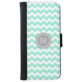 Grey Turquoise Chevron Pattern Monogram iPhone 6 Wallet Case