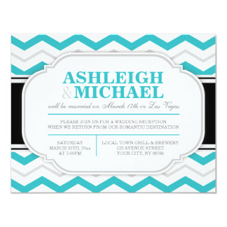Grey & Turquoise Chevron Wedding Reception ONLY 11 Cm X 14 Cm Invitation Card