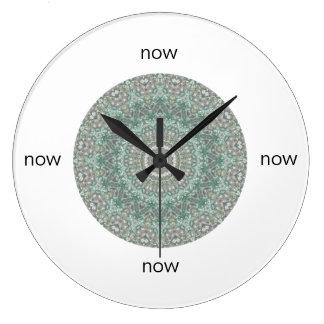 "Grey & Turquoise Mandala ""Now"" Wall Clocks"