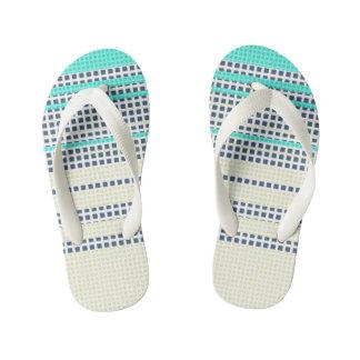 Grey turquoise plaid kid's flip flops