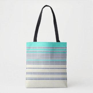 Grey turquoise plaid tote bag