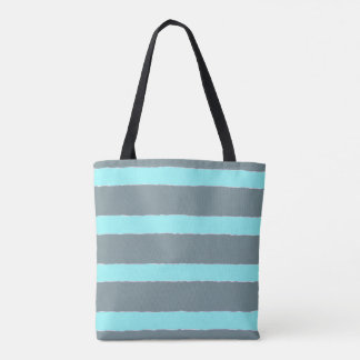 Grey/turquoise stripes tote bag