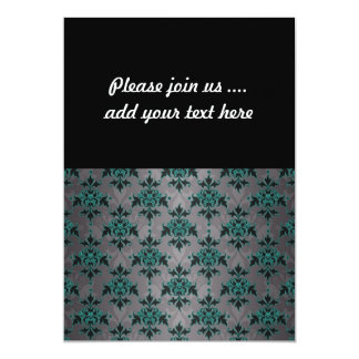 Grey Turquoise Victorian Damask Pattern 13 Cm X 18 Cm Invitation Card