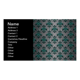 Grey Turquoise Victorian Damask Pattern Double-Sided Standard Business Cards (Pack Of 100)