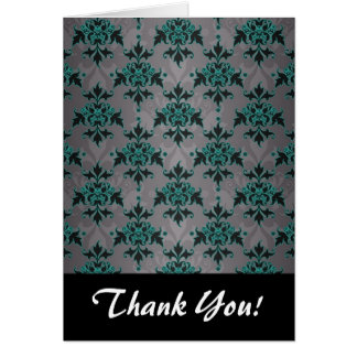 Grey Turquoise Victorian Damask Pattern Note Card