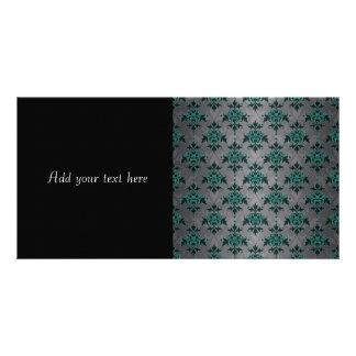 Grey Turquoise Victorian Damask Pattern Photo Greeting Card