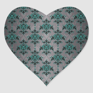 Grey Turquoise Victorian Damask Pattern Heart Stickers