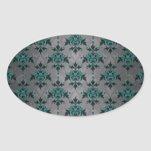 Grey Turquoise Victorian Damask Pattern Sticker