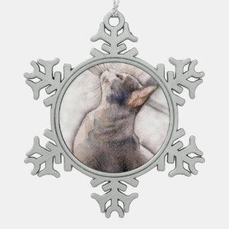Grey Tuxedo Cat in pewter snowflake ornament