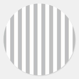 Grey Vertical Stripes Classic Round Sticker