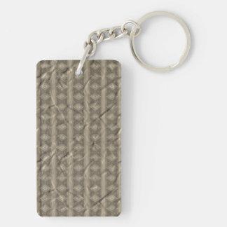 Grey vertical tribal pattern Double-Sided rectangular acrylic keychain