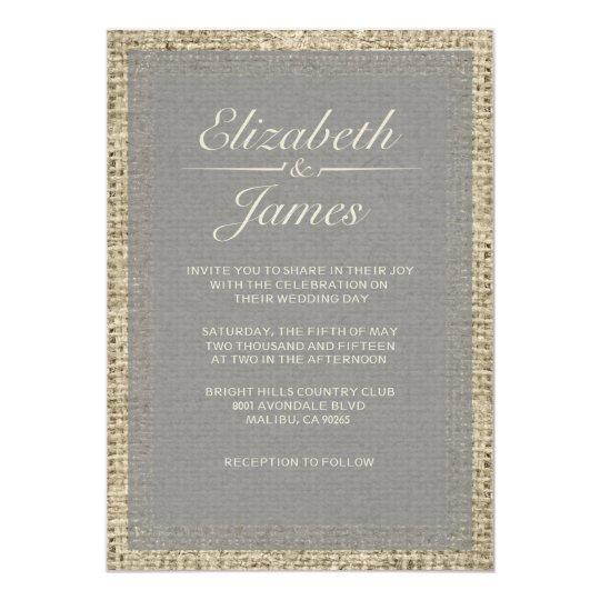 Grey Vintage Burlap Wedding Invitations