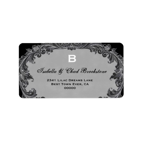 Grey Vintage Curlicue Wedding Monogram G460 Address Label