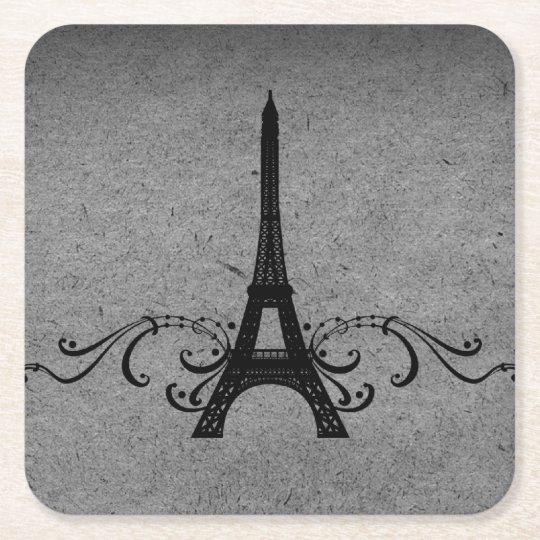 Grey Vintage French Flourish Paper Coaster