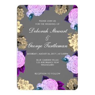 Grey Violet Floral Wedding Invitation