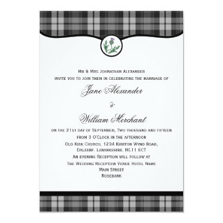 Grey Watch Tartan with Thistle Wedding Invite
