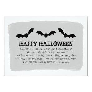 Grey Watercolor Bats Halloween Party Invite
