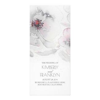 Grey Watercolor Flowers Boho Wedding Programs Rack Card