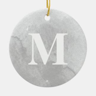 Grey watercolor monogram photo ornament