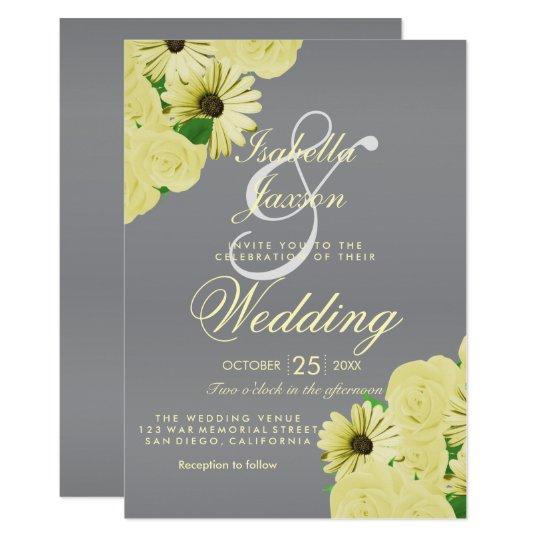 Grey Wedding Satin and Pastel Yellow Wedding Card