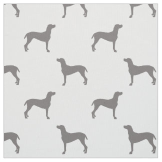 Grey Weimaraner Silhouettes on White Background Fabric
