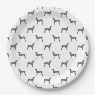 Grey Weimaraner Silhouettes on White Background Paper Plate