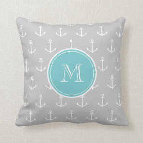 Grey White Anchors Pattern, Teal Monogram Cushion