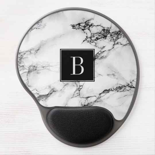 Grey White And Black Marble Stone Monogram Gel
