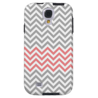 Grey, White and Coral Chevron Galaxy S4 Case