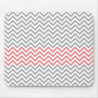 Grey, White and Coral Chevron Mouse Mat