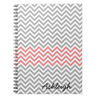 Grey, White and Coral Chevron Notebook